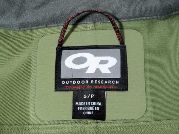 Outdoor Research Cirque Jacket ラベル
